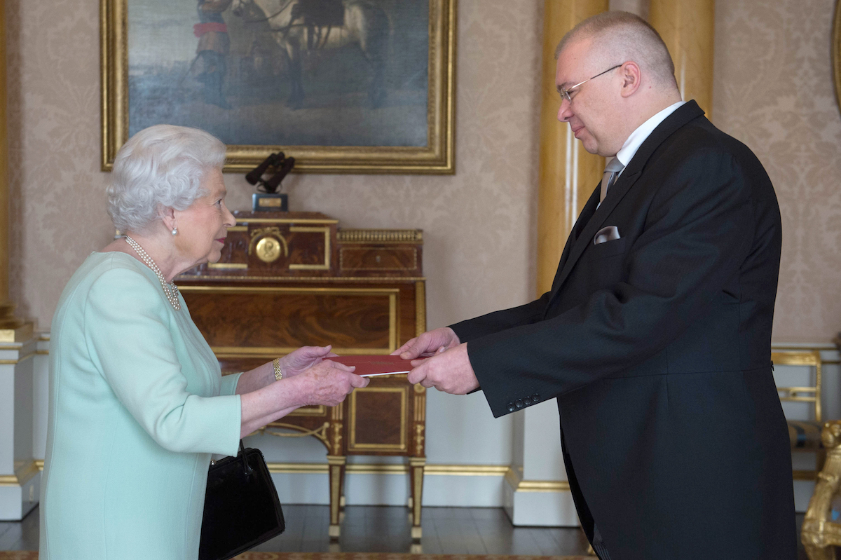 His Excellency Mr Dan Mihalache is received in audience by Queen Elizabeth II at Buckingham Palace, London where he presented his Letters of Credence as Ambassador from Romania to the Court of St James's. PRESS ASSOCIATION Photo. Picture date: Thursday November 10, 2016. Photo credit should read: Stefan Rousseau/PA Wire